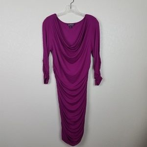 Stretchy Ruched Express Magenta Midi Dress Sz M